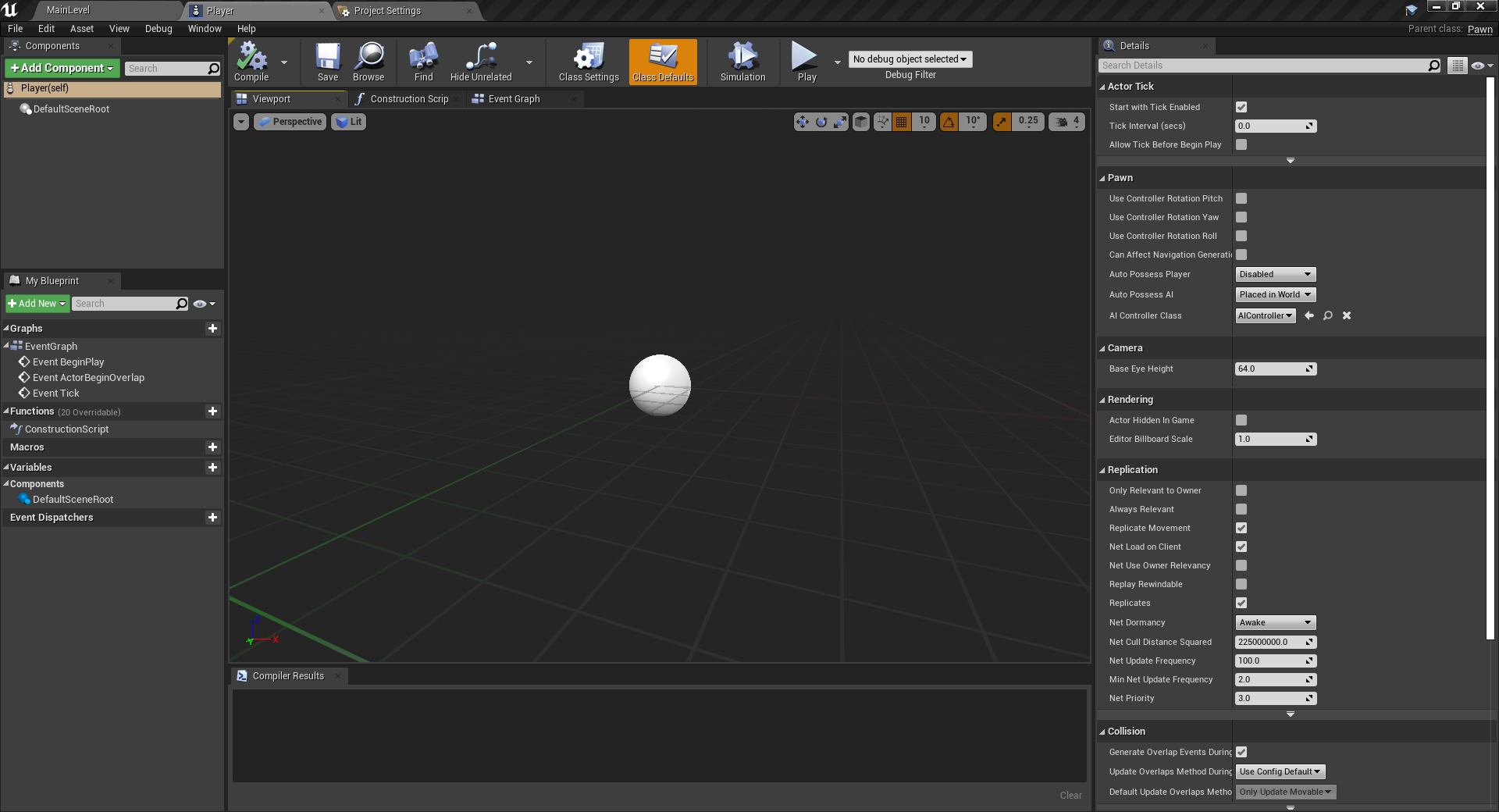 Unreal Engine Player in viewport as a sphere