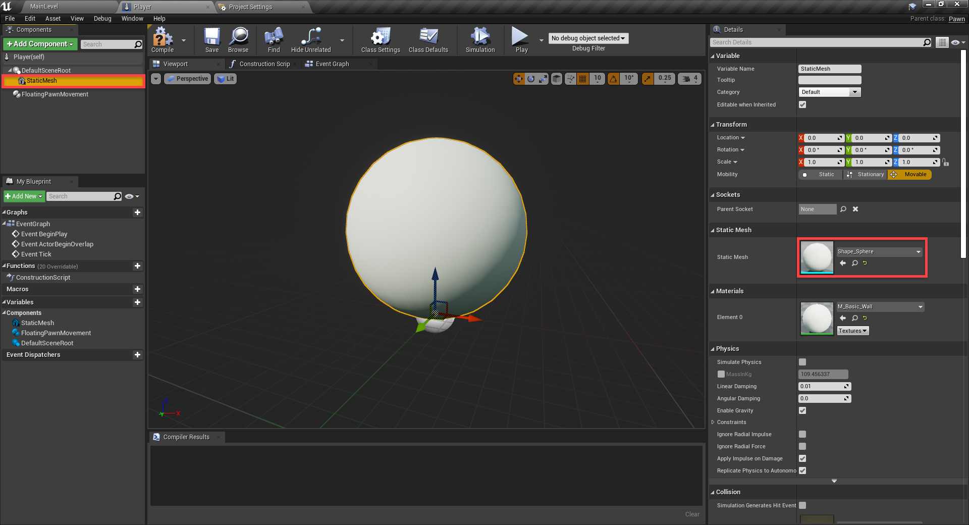 Unreal Engine player with Static Sphere mesh added