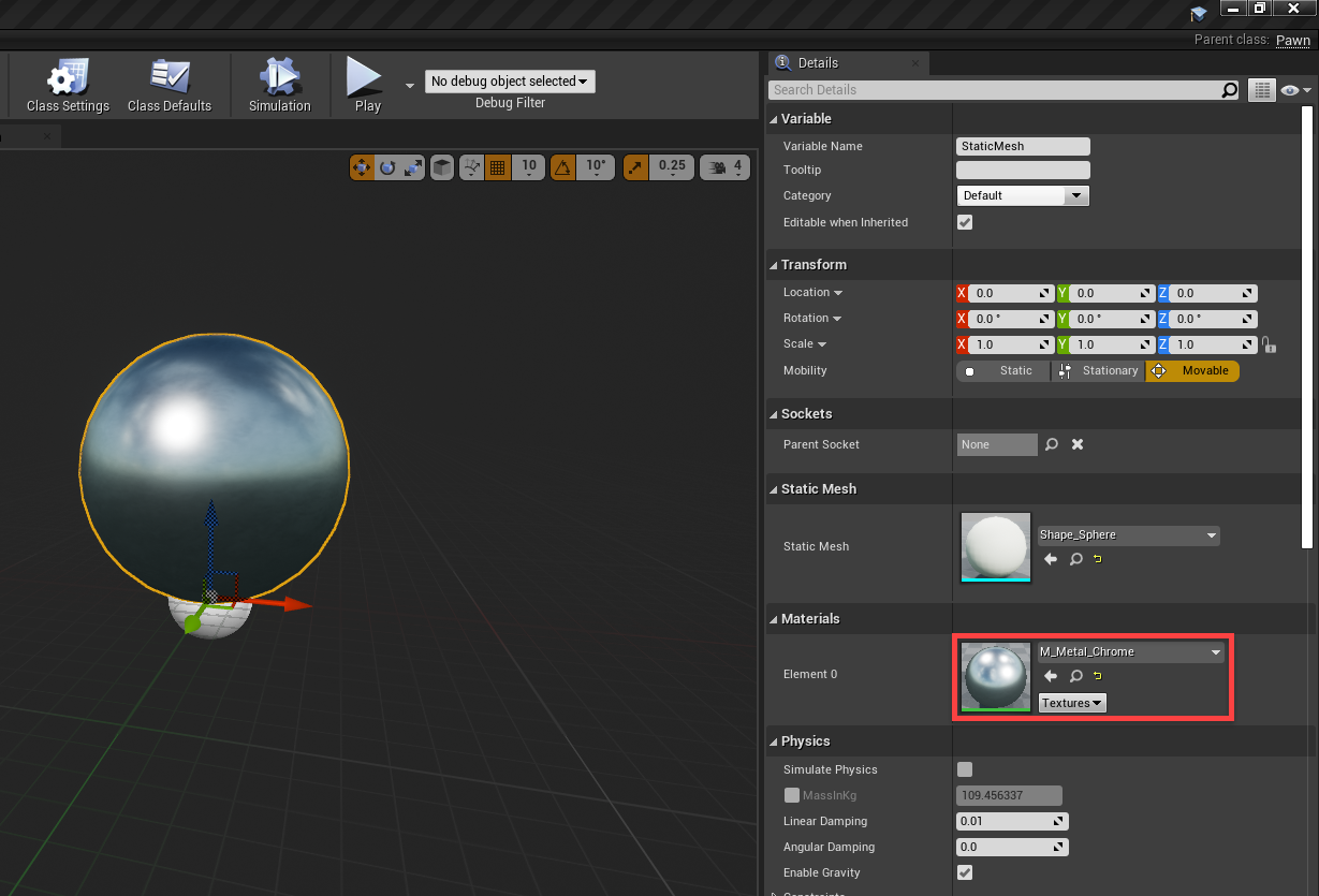 Unreal Engine player with metal chrome material added