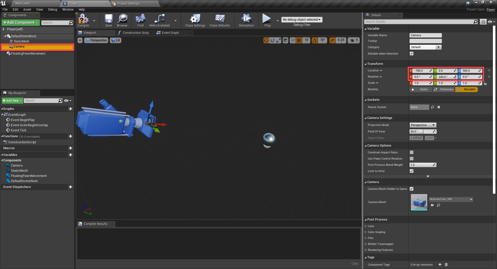Unreal Engine platformer with camera added