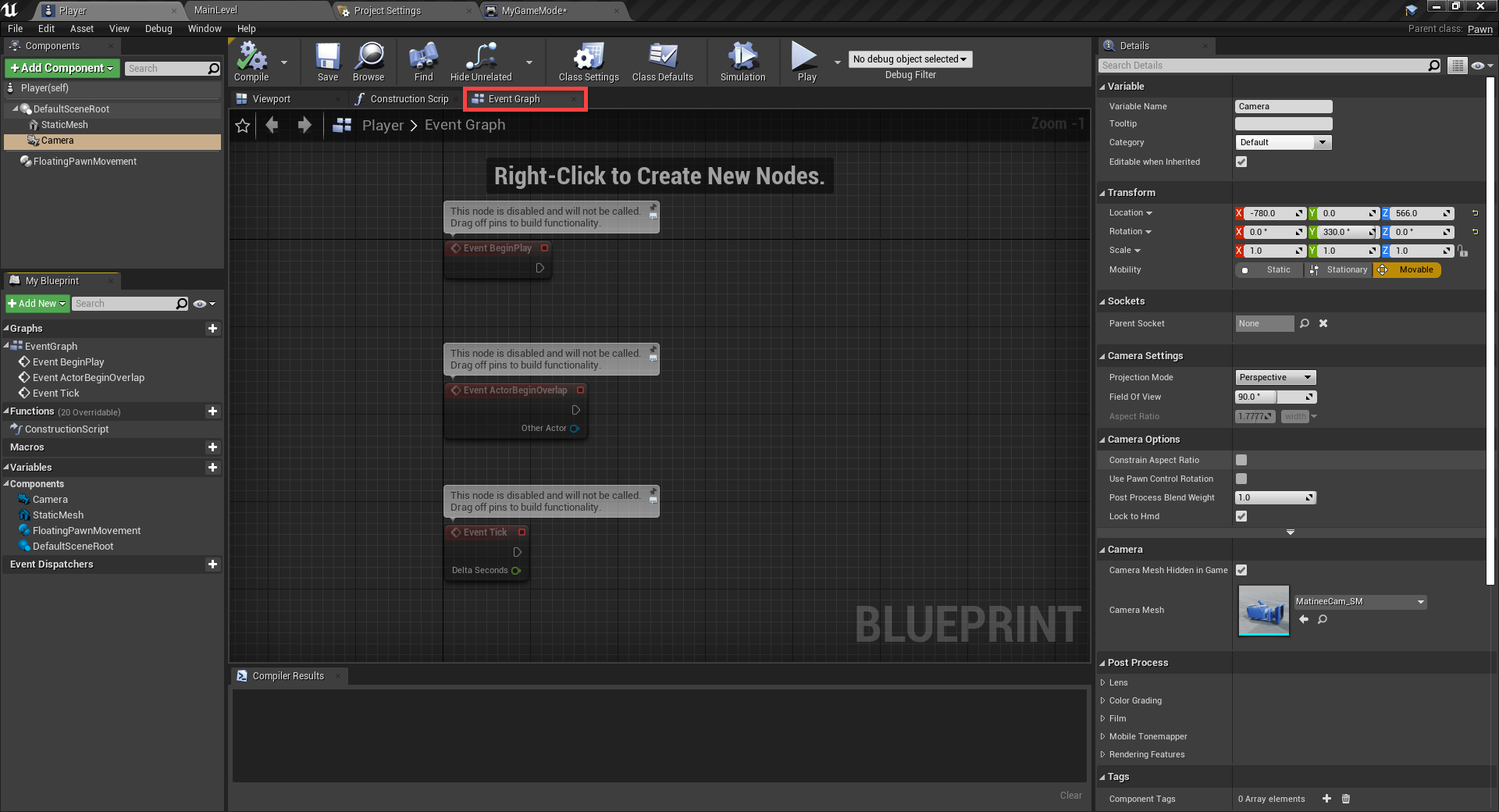 Unreal Engine Event Graph for player character