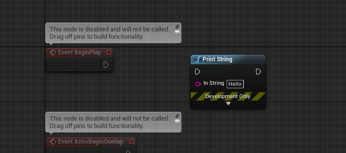UnrealEngine with Print String added to Event Graph