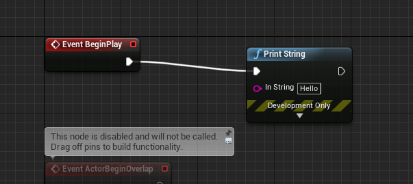 Print String connected to Event BeginPlay in Unreal Engine