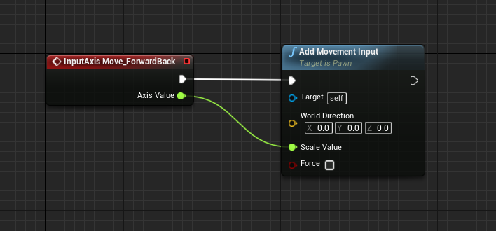 InputAxis added to Add Movement Input in Event Graph