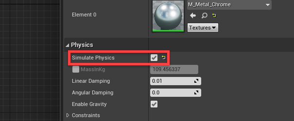 Unreal Engine with Simulate Physics checked