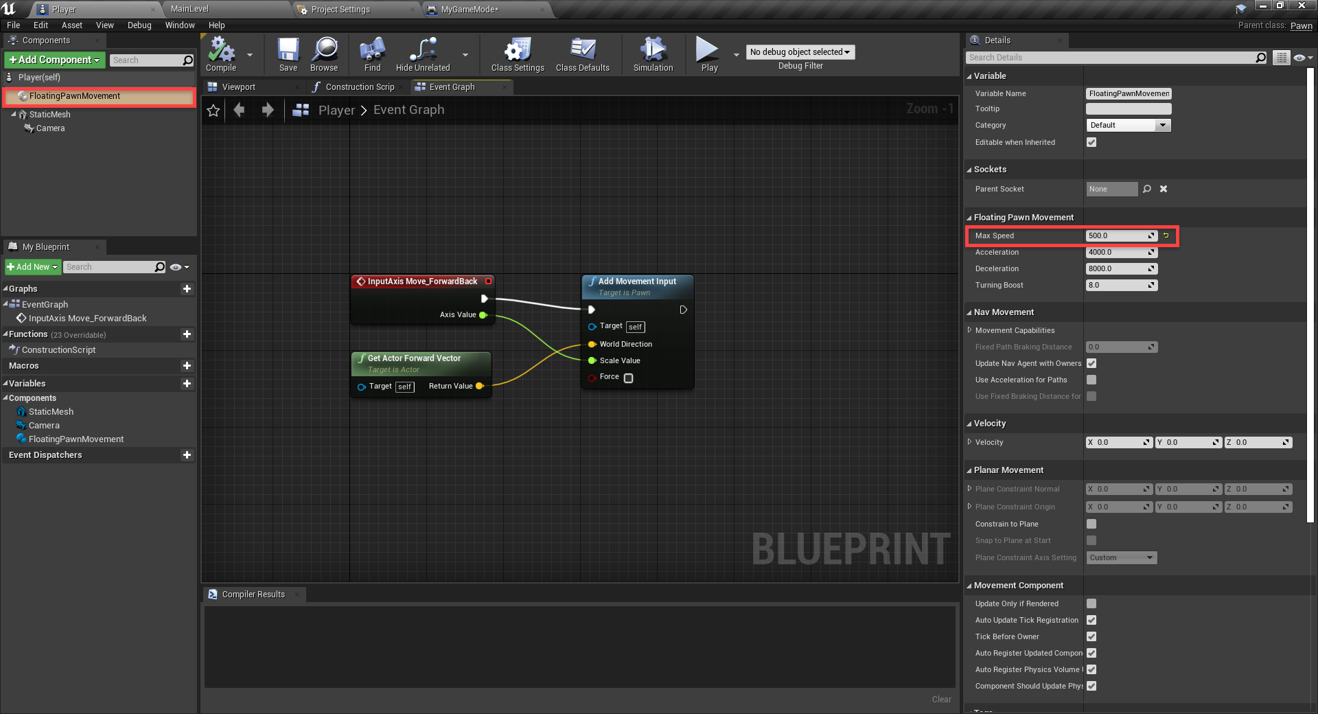 Unreal Engine Event graph overview