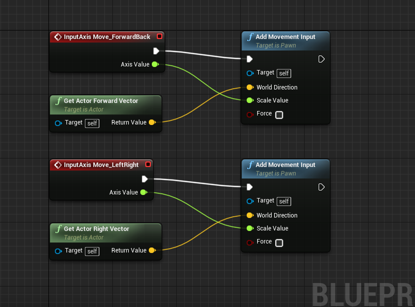 Unreal Engine Event Graph with more InputAxis windows added
