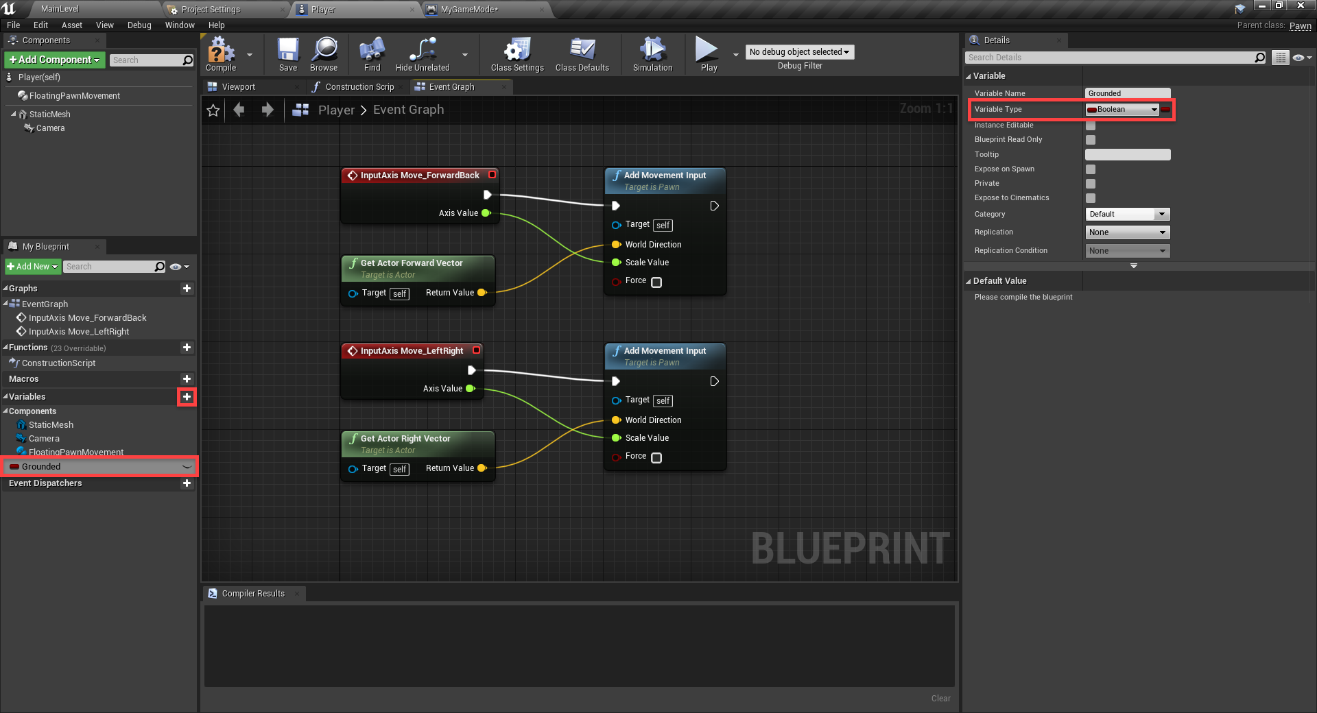 Unreal Engine with Variable Type chosen