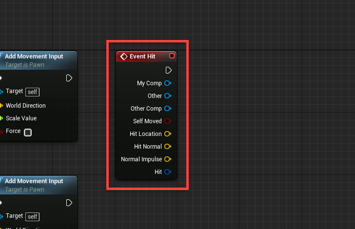Event Hit window added to Event Graph in Unreal Engine