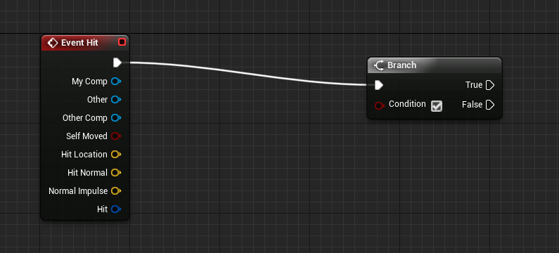 Event Hit connected to Branch in Unreal Engine