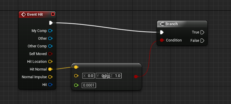 Unreal Engine with Hit Normal connecting to Condition