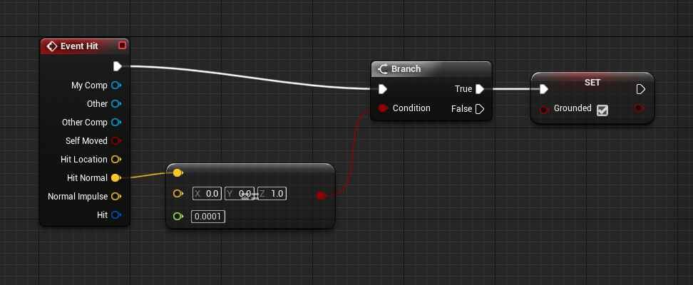 Unreal Engine with Set window connected to True Branch