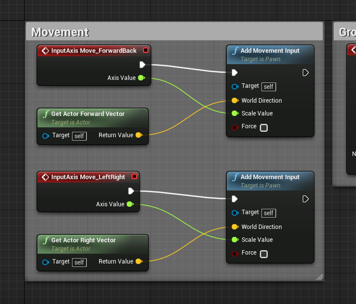 Unreal Engine with Movement blueprint grouped