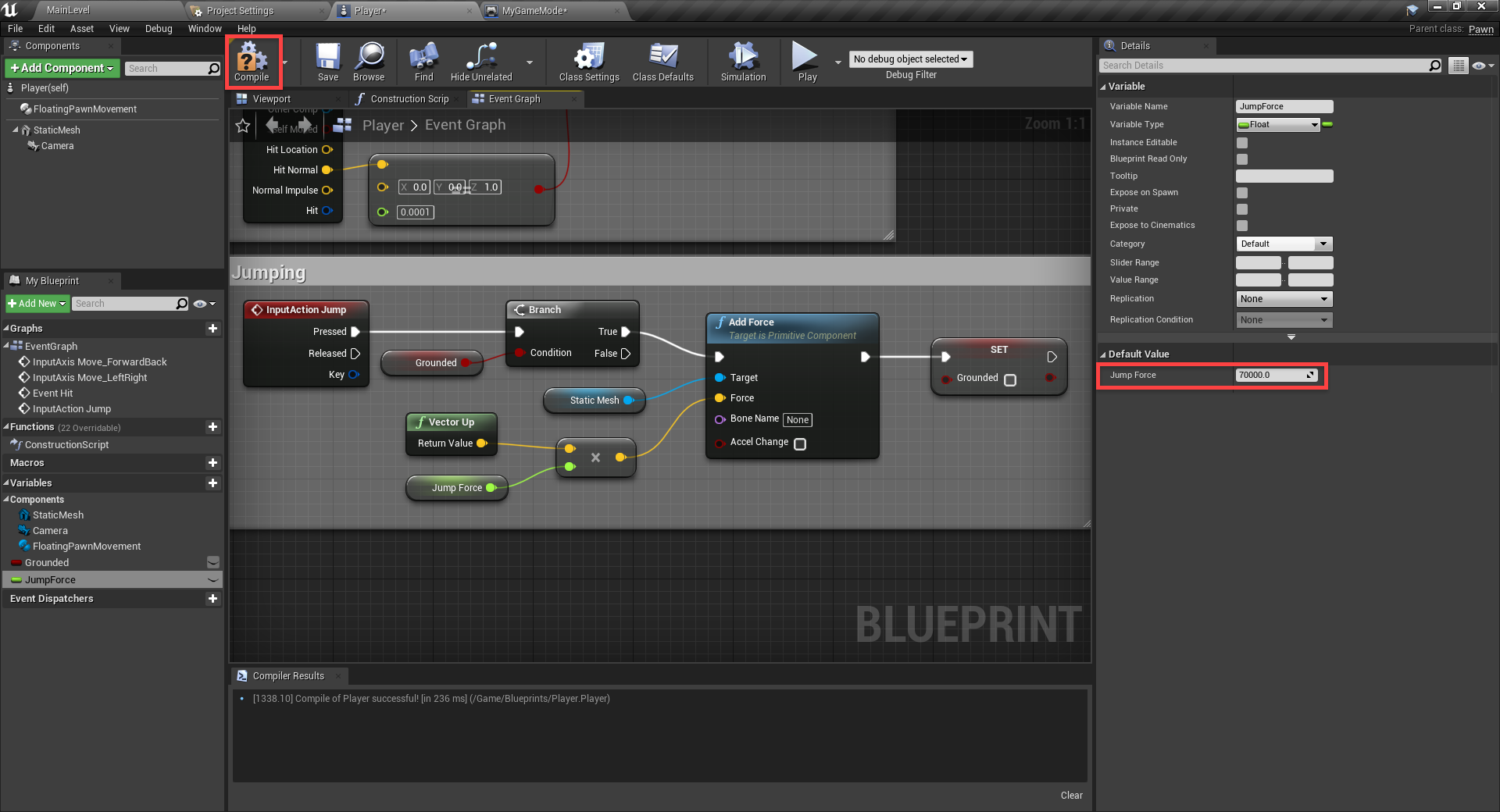 Unreal Engine with Compile button highlighted