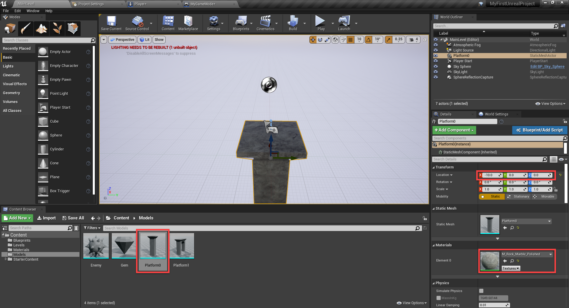 Unreal Engine with Platform level object added to scene