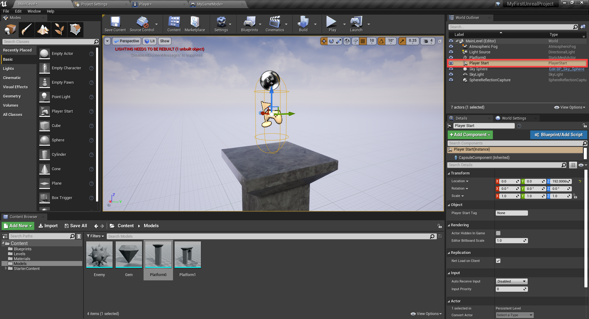 Unreal Engine with player moved up above platform
