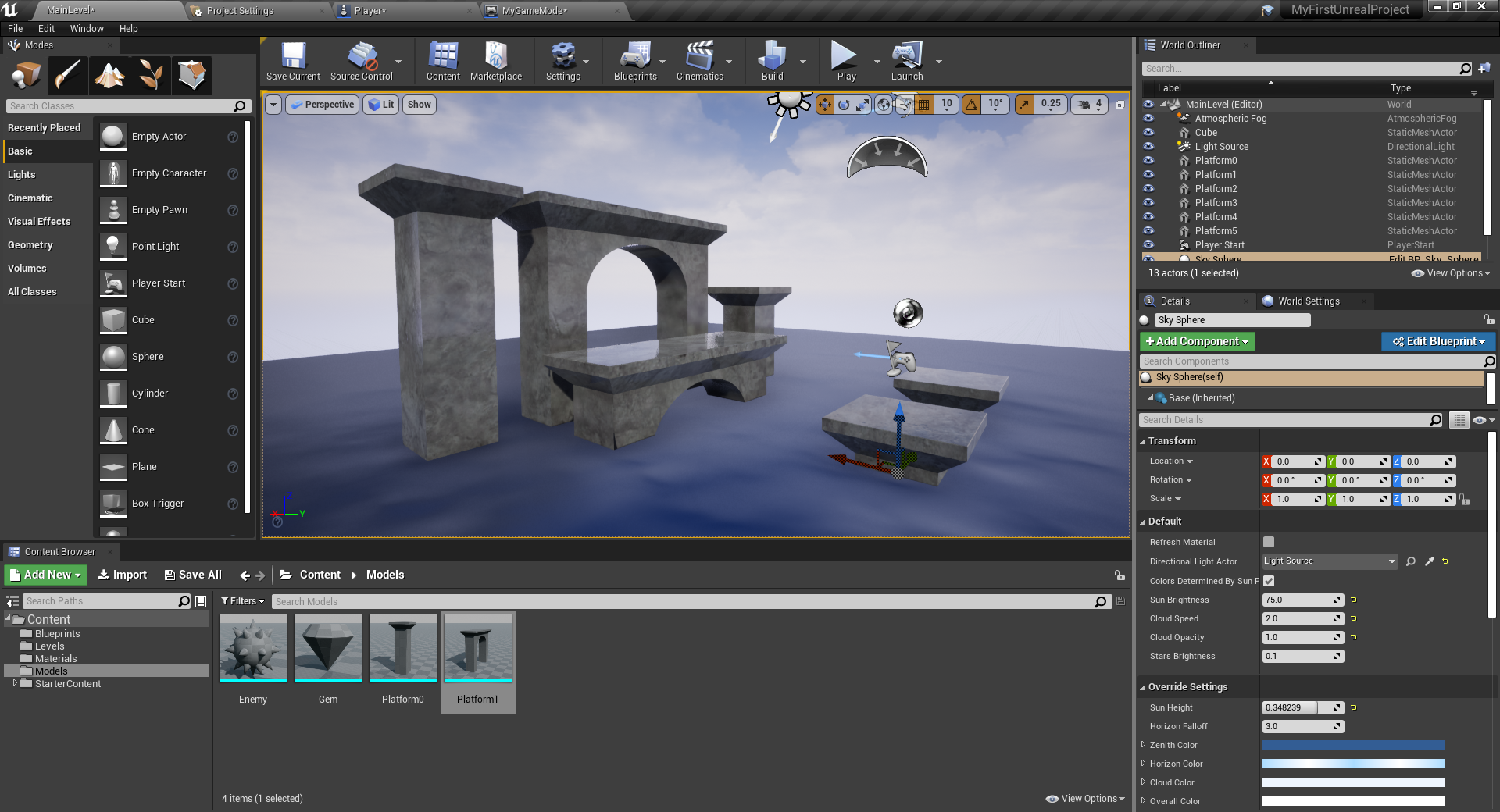 Unreal Engine with completed 3D platformer level design