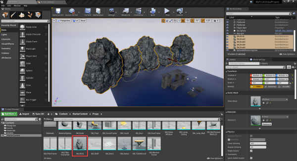 Unreal Engine with rock objects added for background