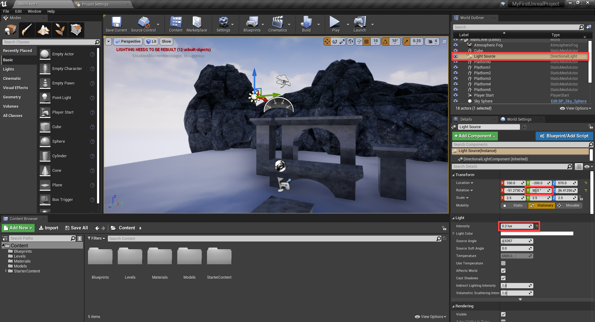 Unreal Engine with light source adjusted