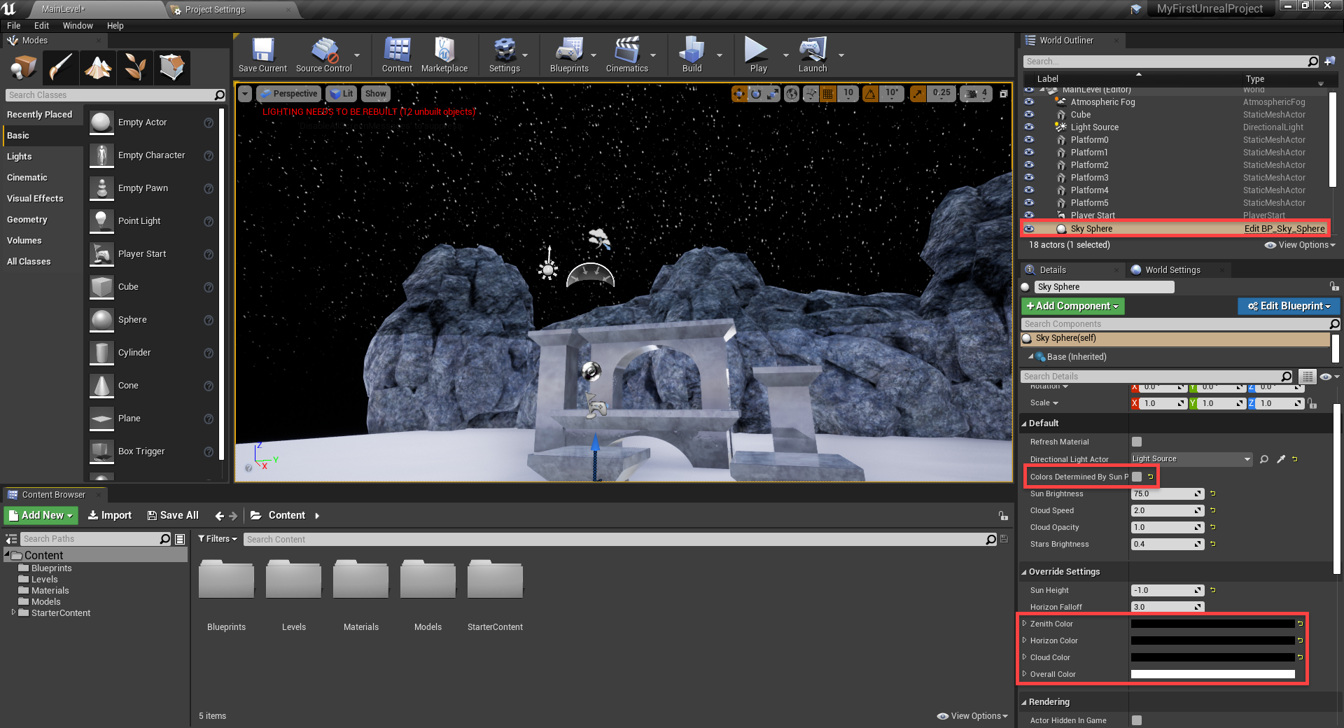 Unreal Engine with starry night sky field added