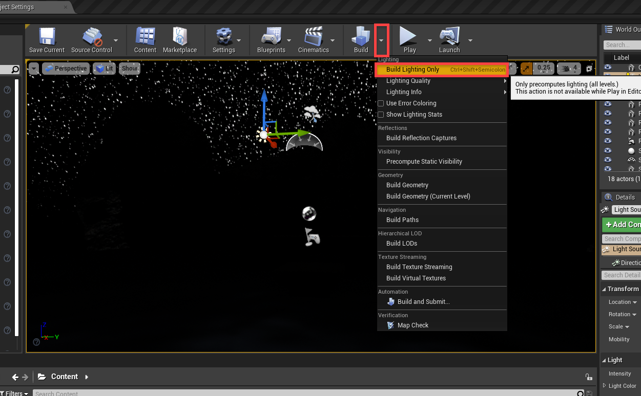 Unreal Engine Build window with Build Lighting Only selected