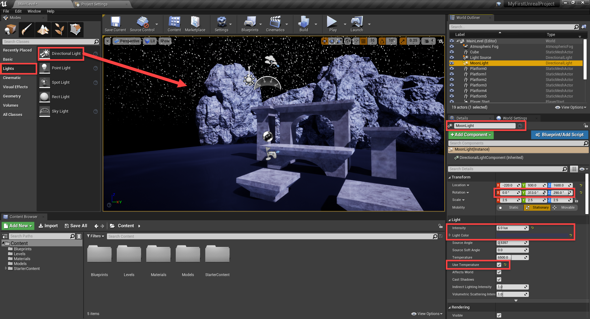 Unreal Engine with Direction Light parameters