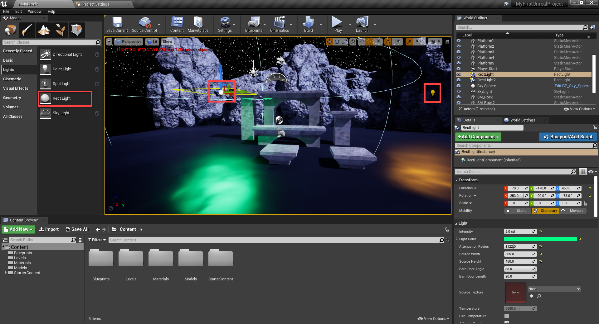 Unreal Engine with RectLight added to scene