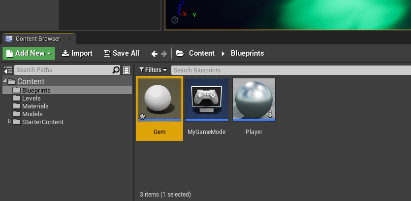 Unreal Engine with new Gem content created