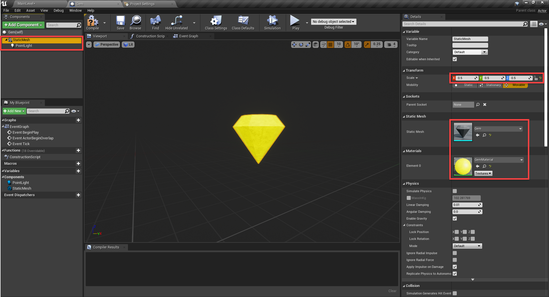 Unreal Engine with Gem object created with model