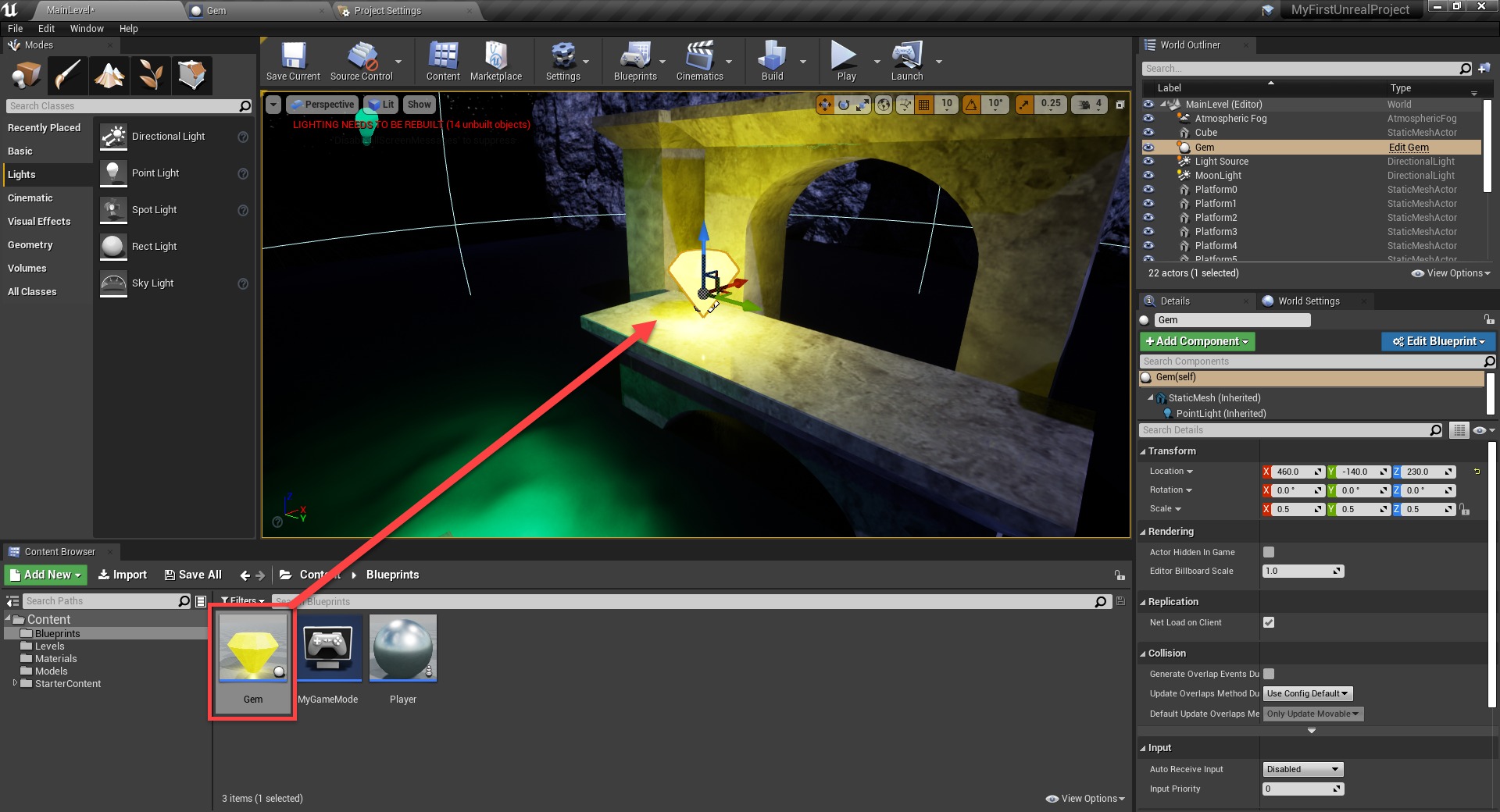 Unreal Engine with glowing gem added to scene