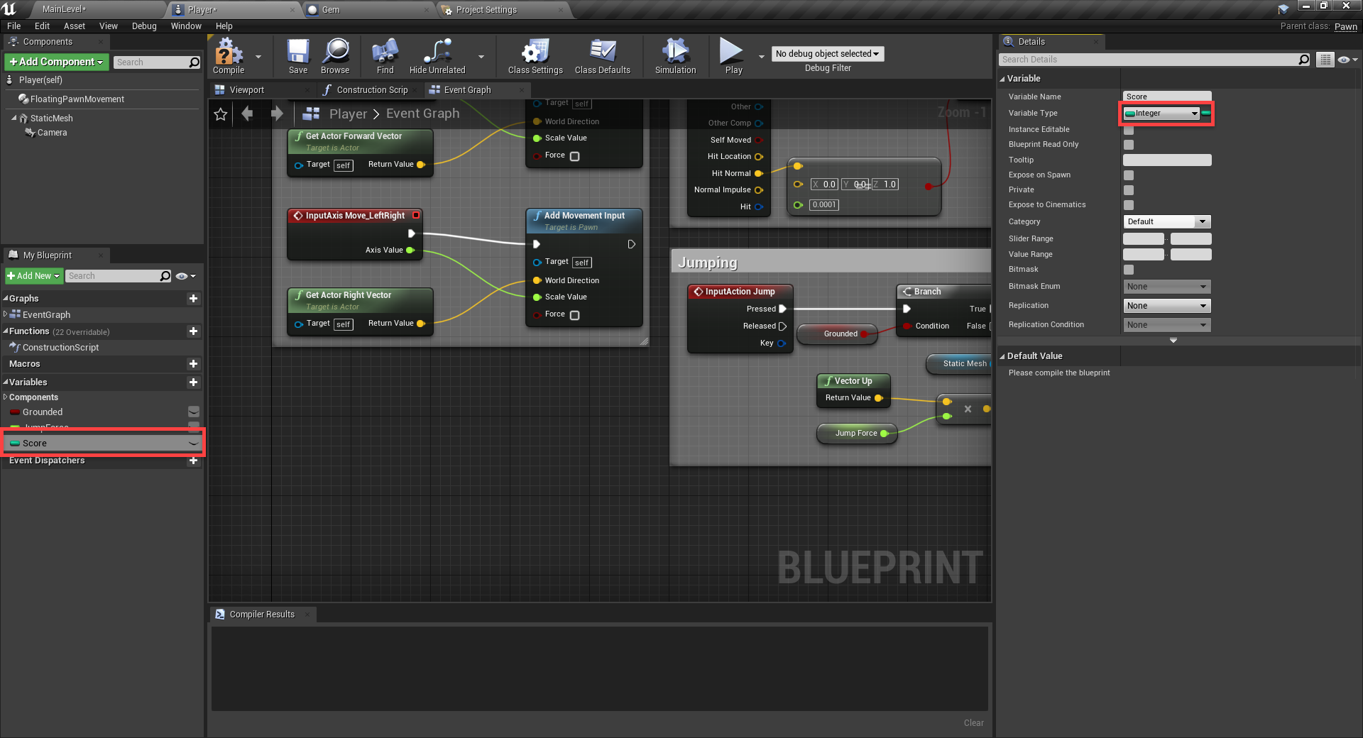 Unreal Engine Score with Integer selected for Variable Type