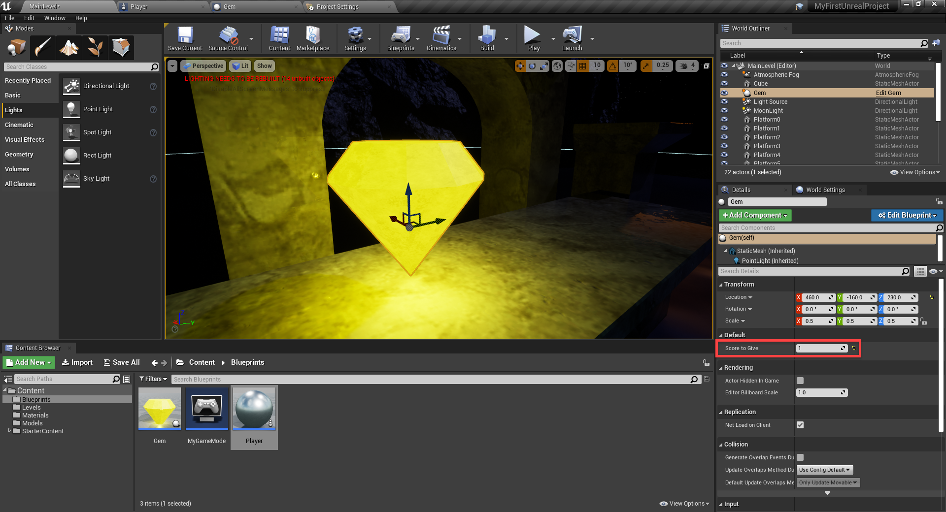 Score to Give in Unreal Engine property panel