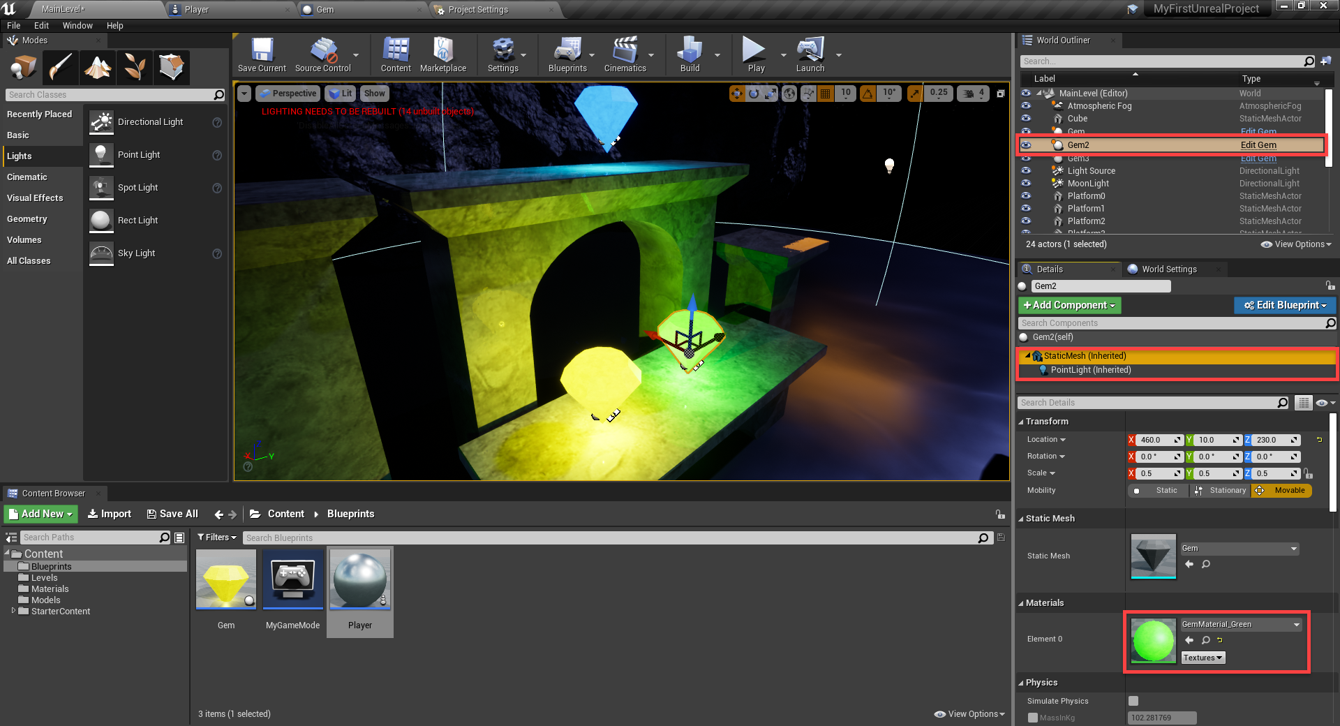 Green glowing gem added to Unreal Engine project