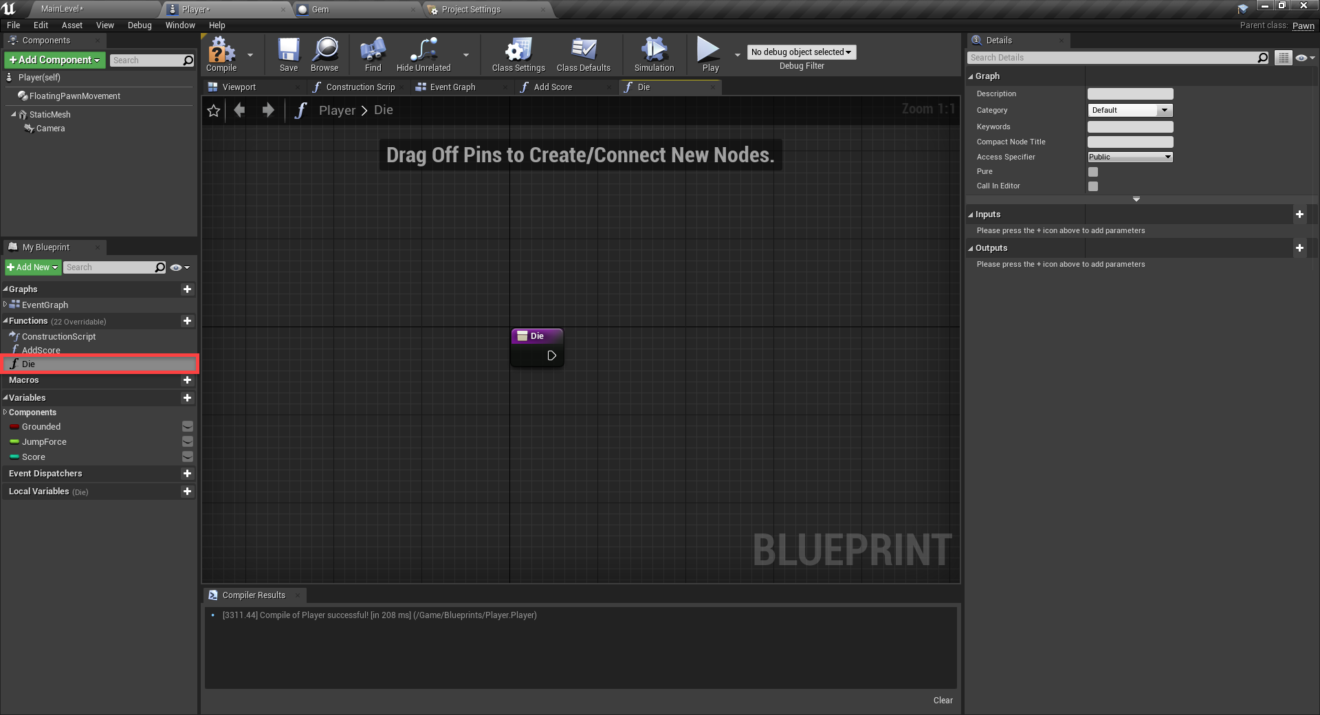 Dying logic in Event Graph for Unreal Engine