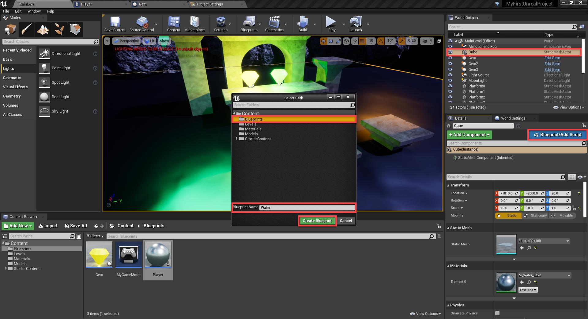 Unreal Engine Create Blueprint window