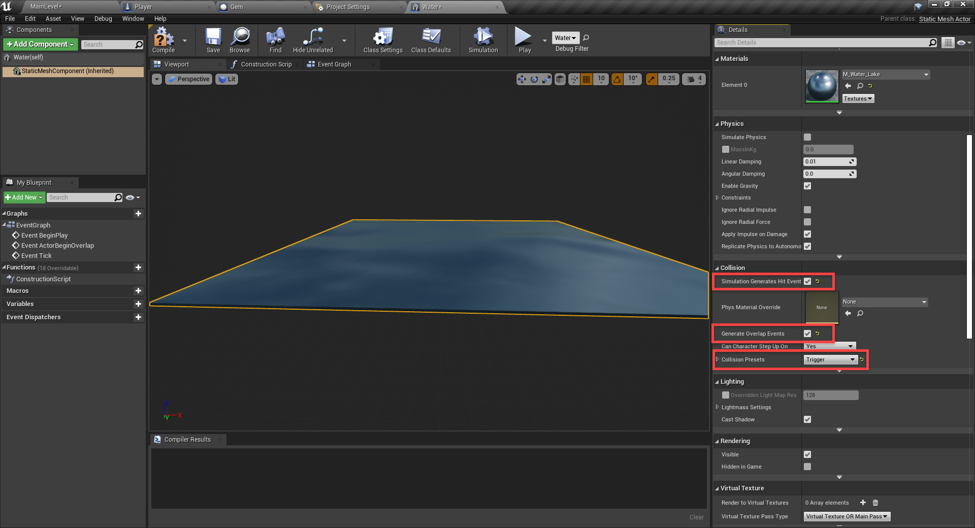 Unreal Engine water element with dying blueprint added