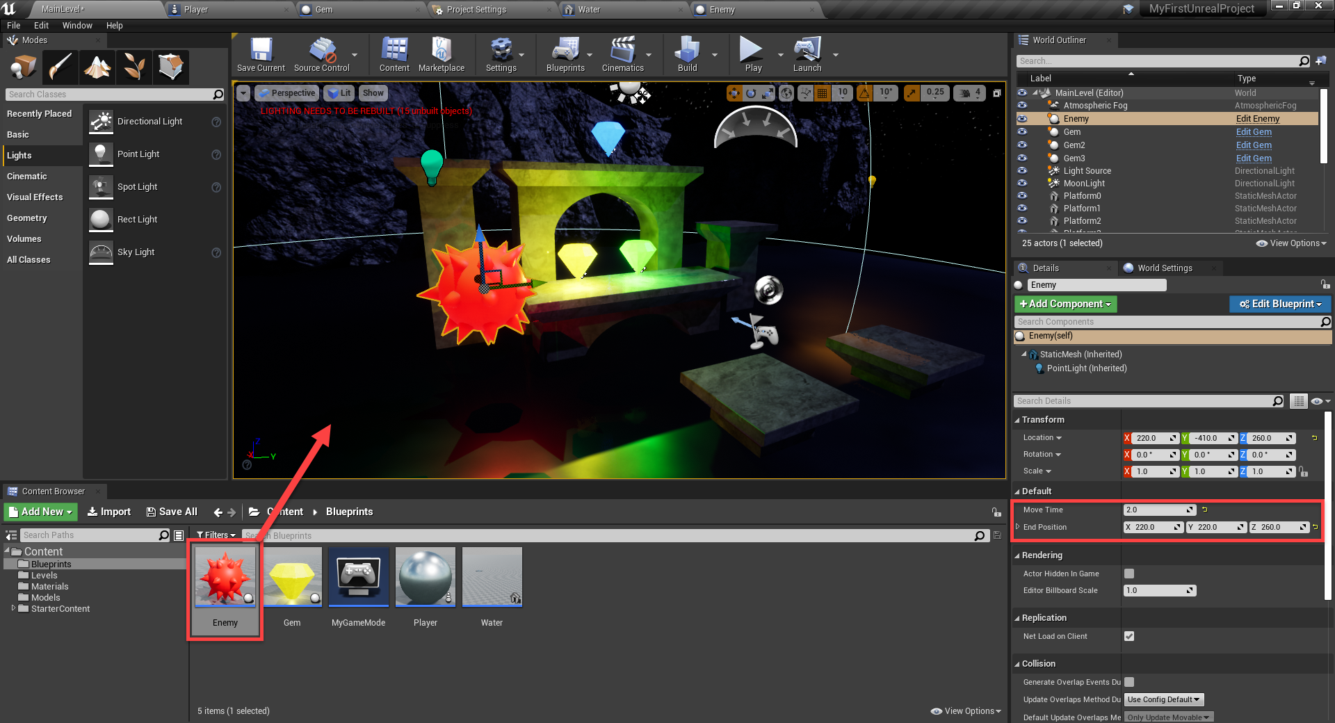 Enemy added to Unreal Engine project
