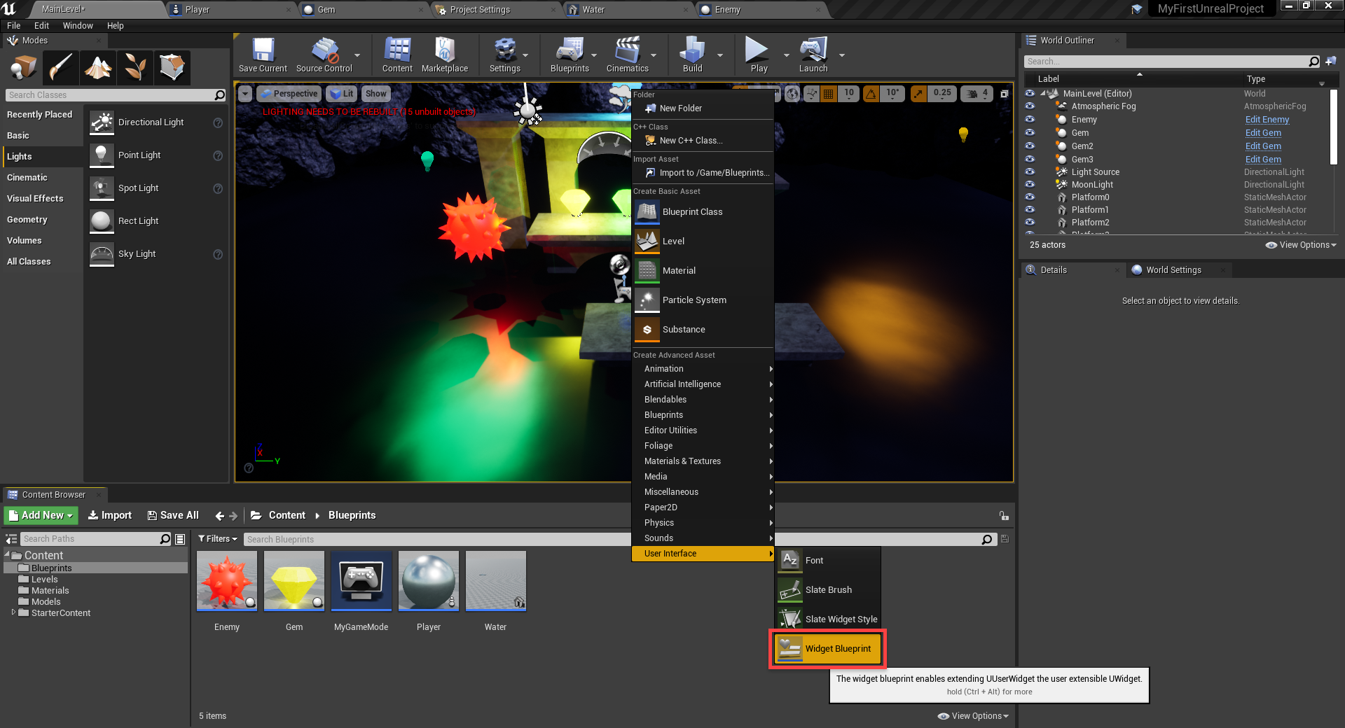 Unreal Engine menu with User Interface selected