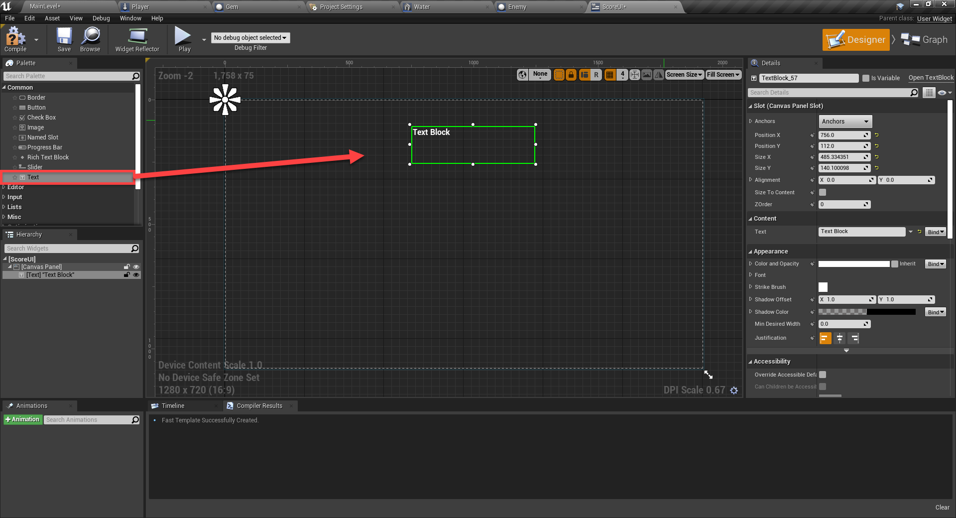 Text object added to Unreal Engine UI