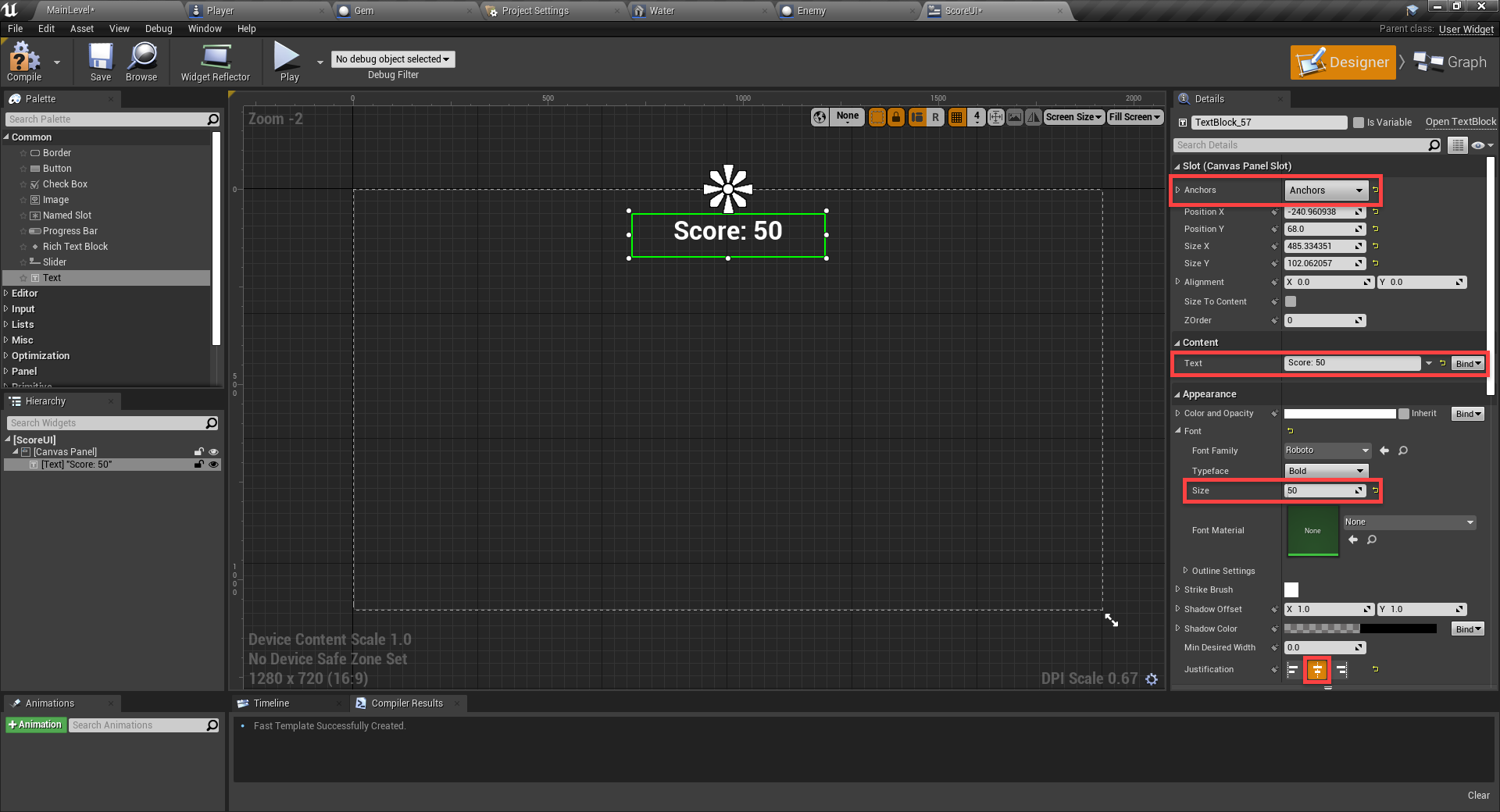 Various settings for Unreal Engine UI text