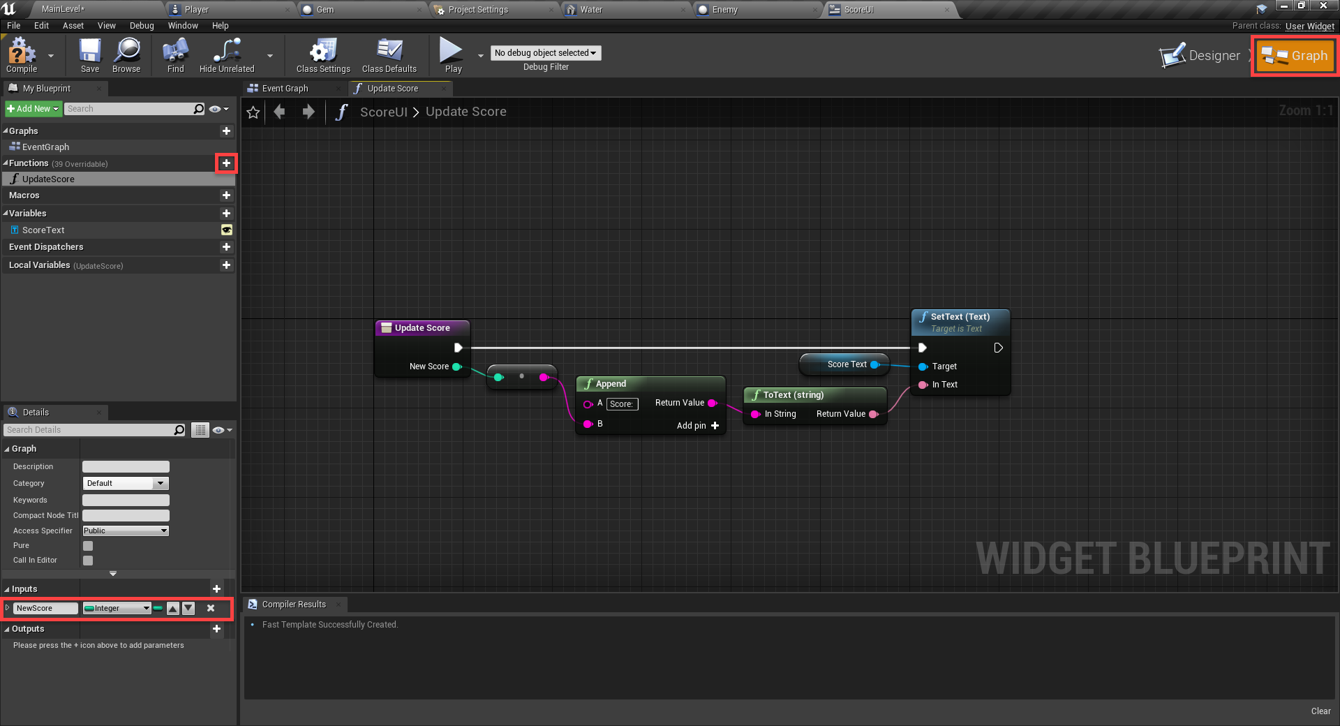 Unreal Engine Event graph with adjustments for UI