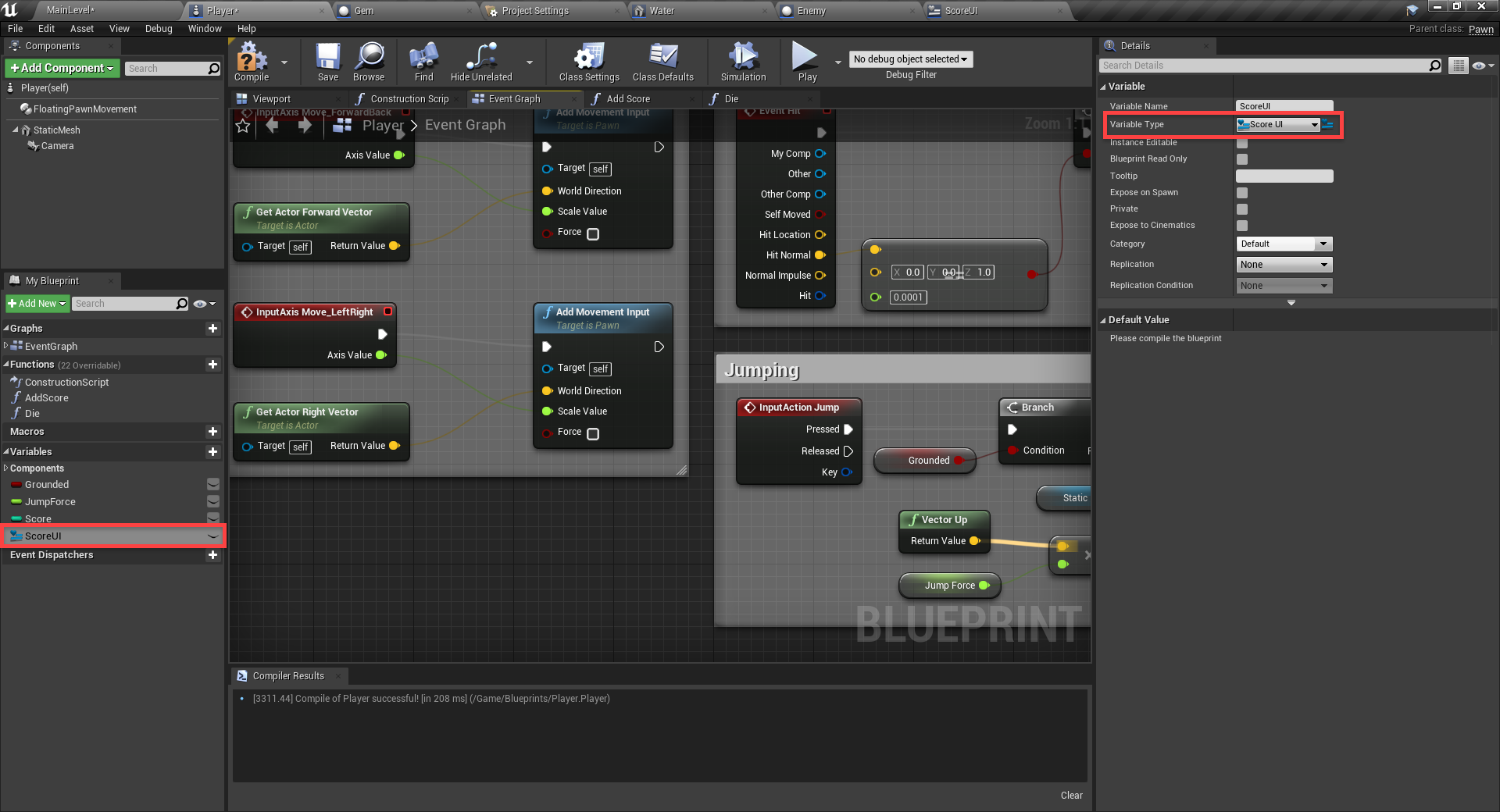 ScoreUI added as Variable Type in Unreal Engine blueprinting