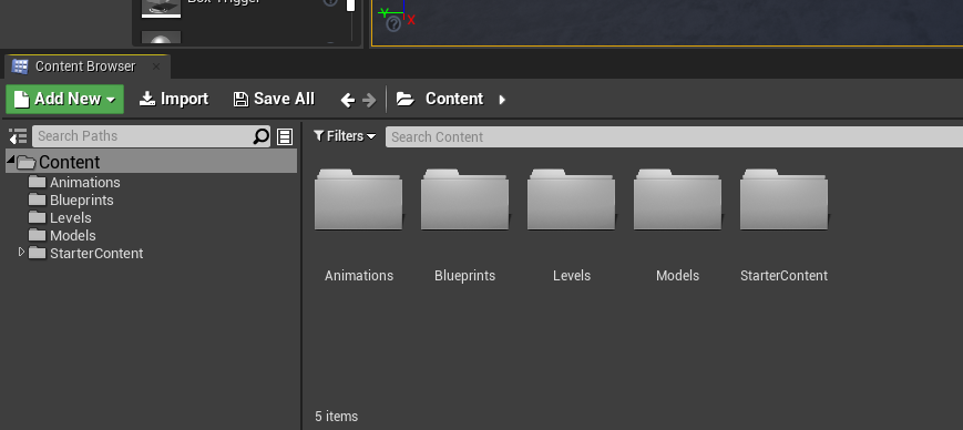 Unreal Engine Content Browser window