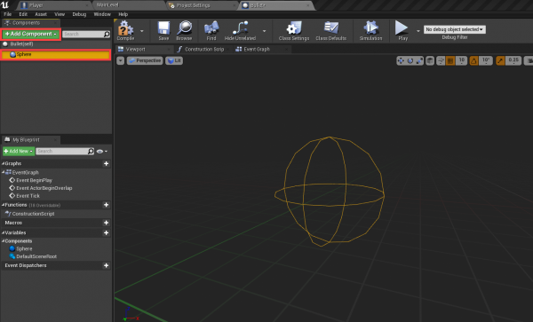 Sphere collision shape added to bullet in Unreal engine