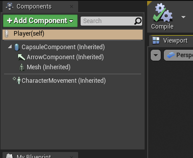 Unreal Engine components for Player object