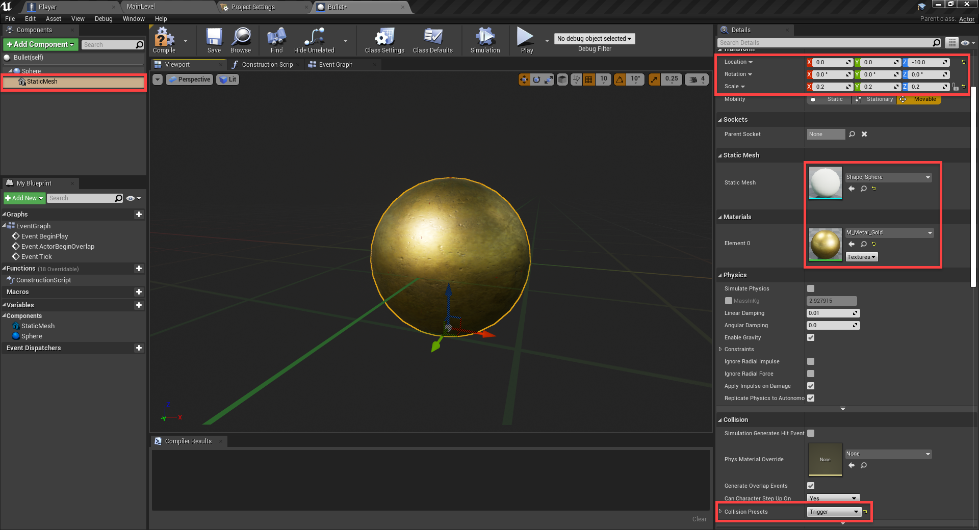 Gold metallic material added to FPS bullet