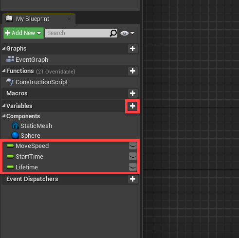 Components for bullet blueprint in Unreal Engine