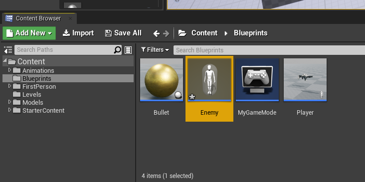 Enemy blueprint created for Unreal Engine FPS