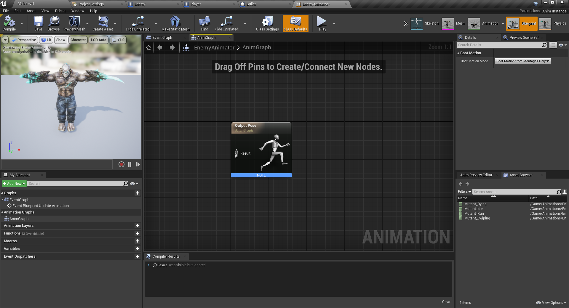 Unreal Engine AnimGraph window