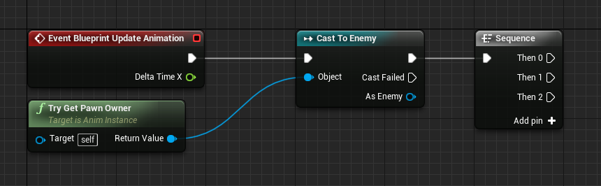 Event Graph for enemy with animation nodes